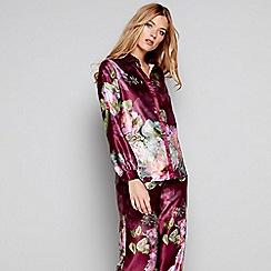 B by Ted Baker - Dark pink floral print satin 'Pure Peony' long sleeve pyjama top