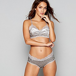 Lipsy - Grey velvet lace 'Sherie' non-wired non-padded bralette