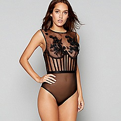 Lipsy - Black floral embellished mesh 'Couture Flower' body