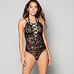 Ann Summers - Black floral lace 'Winona' body