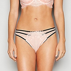 Ann Summers - Peach 'As Between Sheets' Floral Lace Bikini Knickers