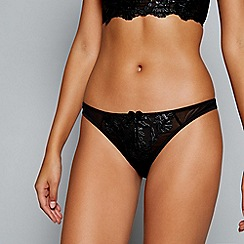 Ann Summers - Black floral embroidered mesh 'Celia' thong