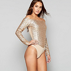 Lipsy - Gold sequin mesh 'Suzanne' body