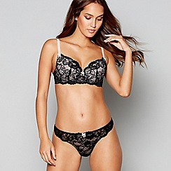 Lipsy - Black lace 'Janey' underwired padded plunge bra