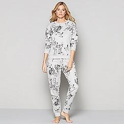 Nine by Savannah Miller - Grey floral jacquard cotton blend loungewear set