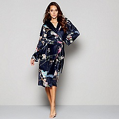 B by Ted Baker - Navy floral print fleece dressing gown