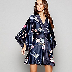 B by Ted Baker - Navy bird print satin 'Flight of the Orient' dressing gown