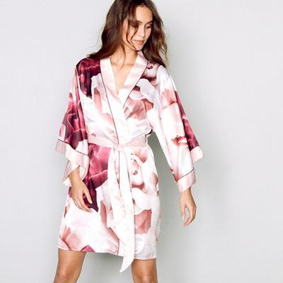 B By Ted Baker Pink Satin Porcelain Rose Dressing Gown Debenhams