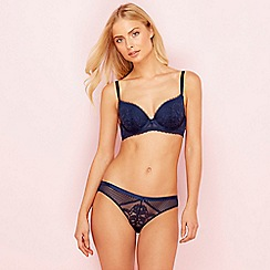 The Collection - Navy blue lace underwired padded plunge bra