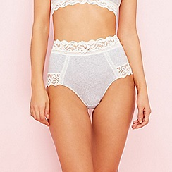 The Collection - Grey lace cotton blend full brief knickers