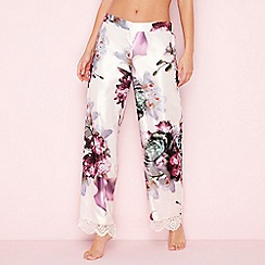 B by Ted Baker - Pink posy print satin 'Ethereal' pyjama bottoms