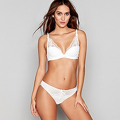Reger by Janet Reger - White lace underwired padded plunge bra