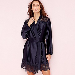 B by Ted Baker - Navy satin 'Dramatic Lace' kimono