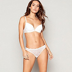Ann Summers - White lace underwired padded plunge bra