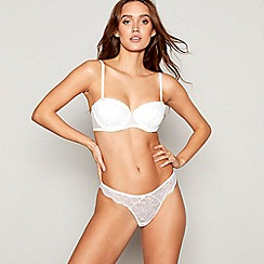 Ann Summers - White lace underwired padded balcony push-up bra