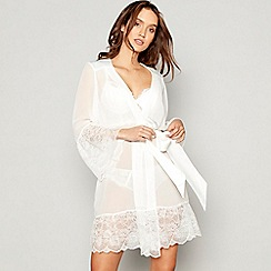Lipsy - Ivory chiffon lace 'Aria' dressing gown