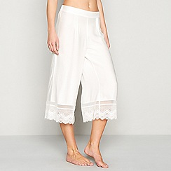 Nine by Savannah Miller - White embroidered lace 'Dobby' pyjama bottoms