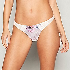Ann Summers - Pink floral print satin lace 'Adelia' thong