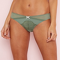 The Collection - Green floral lace Brazilian knickers