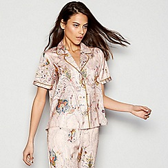Nine by Savannah Miller - Pink paisley print satin pyjama short sleeve top