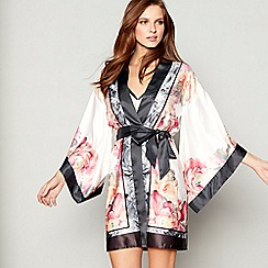B by Ted Baker - Light pink floral print satin 'Painted Posey' kimono dressing gown