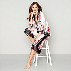B by Ted Baker - Light pink floral print satin 'Painted Posey' long sleeve pyjama set