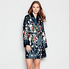 B by Ted Baker - Navy floral print 'Kensington' satin dressing gown
