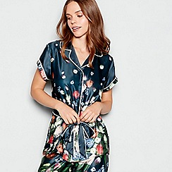 B by Ted Baker - Navy floral print satin 'Kensington' short sleeve pyjama top