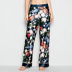 B by Ted Baker - Navy floral print satin 'Kensington' pyjama bottoms