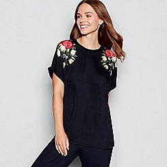 B by Ted Baker - Navy floral print 'Kensington' short sleeve pyjama top