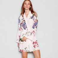B By Ted Baker Pale Pink Fl Print Kensington Satin Dressing Gown