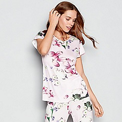 B by Ted Baker - Light pink floral print 'Kensington' short sleeve pyjama top