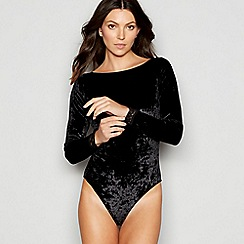 The Collection - Black lace trim velvet long sleeve body