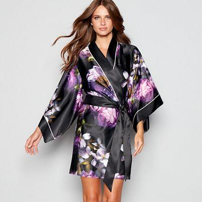 B By Ted Baker Black Floral Print Sunlit Floral Satin Pyjama