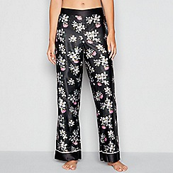B by Ted Baker - Black 'Sunlit Floral' print satin pyjama trousers