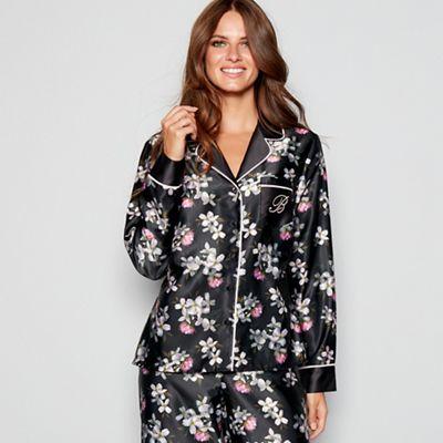 1916f6e6a16c9 B by Ted Baker - Black print satin  Sunlit Floral  long sleeve pyjama top