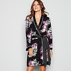 B by Ted Baker - Black print jersey 'Sunlit Floral' kimono dressing gown