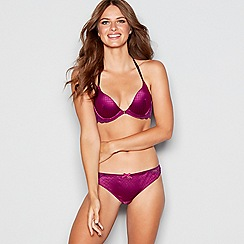 B by Ted Baker - Purple jacquard lace underwired padded plunge bra