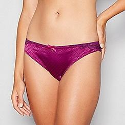 B by Ted Baker - Purple geometric jacquard satin lace brazilian knickers