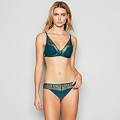 Nine by Savannah Miller - Green leaf lace underwired padded plunge bra