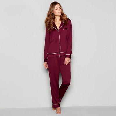 Nine By Savannah Miller   Plum 'revere' Long Sleeve Pyjama Set by Nine By Savannah Miller