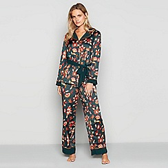 Nine by Savannah Miller - Green paisley print satin pyjama set