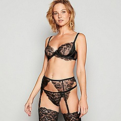 No. 1 Jenny Packham - Black embroidered lace 'Blossom' underwired non-padded balcony bra