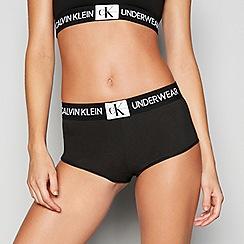Calvin Klein - Black cotton blend 'Monogram' shorts