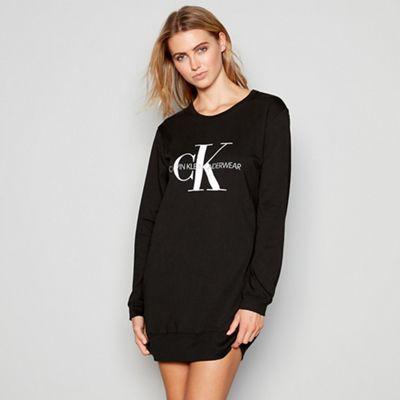 Calvin Klein Black cotton  Monogram  long sleeve nightshirt  776631b5b