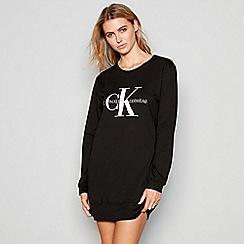 Calvin Klein - Black cotton 'Monogram' long sleeve nightshirt