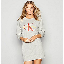 Calvin Klein - Grey cotton 'Monogram' long sleeve nightshirt