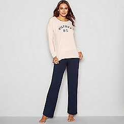 Tommy Hilfiger - Pink and navy cotton blend  Iconic  long sleeve pyjama set