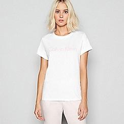 Calvin Klein - White cotton 'Monogram' loungewear top