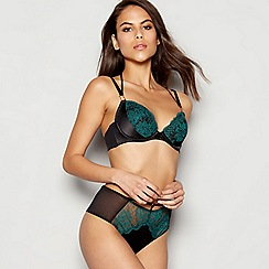 Ann Summers - Black embroidered mesh 'Singapore Sling' underwired padded plunge bra